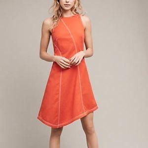 Anthropologie Maeve Orange Double Stitch Dress 2